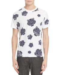 KENZO White 'all Over Tiger Head' Graphic T-shirt for men
