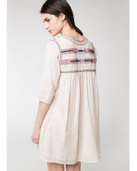 Mango White Beaded Embroidered Dress