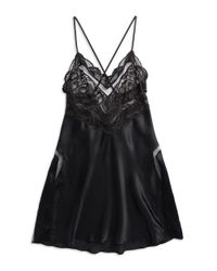 Calvin Klein | Black Silk And Lace Chemise | Lyst