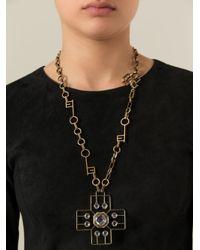 Lanvin   Metallic Cross Pendant Necklace   Lyst