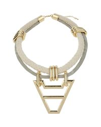TOPSHOP - White V Drop Rope Necklace - Lyst