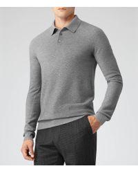 Reiss - Gray Churchill Stitch Detail Polo Shirt for Men - Lyst
