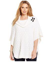 Calvin Klein | White Plus Size Cowlneck Poncho Sweater | Lyst