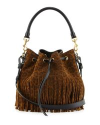 Saint Laurent | Brown Emmanuelle Leopard-Print Medium Fringe Bucket Bag | Lyst