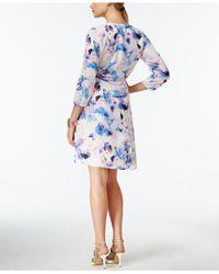 Robert Rodriguez | Pink Floral-print Faux-wrap Dress | Lyst