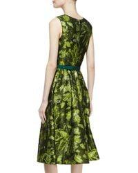 Oscar de la Renta Green Sleeveless Darted Brocade Dress
