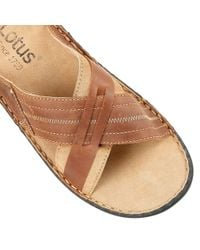 Lotus - Brown Harlech Slip On Casual Sandals for Men - Lyst