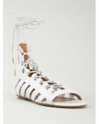 Aquazzura - White Lace-Up Leather Sandals - Lyst