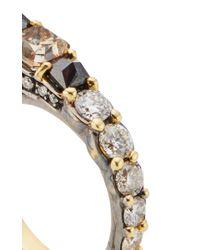 Ara Vartanian Metallic Yellow Gold Three Finger Ring With Brown, Black And White Diamonds