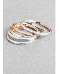 & Other Stories | Metallic Square-Wire Rings | Lyst