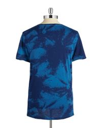 G-Star RAW | Blue Patterned Logo Tee for Men | Lyst