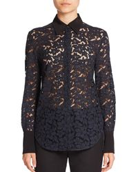 3.1 Phillip Lim | Blue Silk-trim Lace Shirt | Lyst