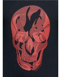 Alexander McQueen Black Contrast Pattern Skull Print T-shirt for men