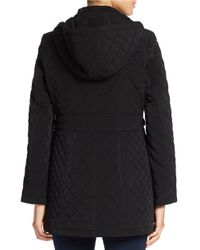 Gallery - Black Hooded Quilted Coat - Lyst