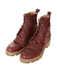 TOPSHOP - Red Animate Slashed Boots - Lyst