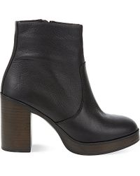 Carvela Kurt Geiger Black Sharon Leather Heeled Ankle Boots