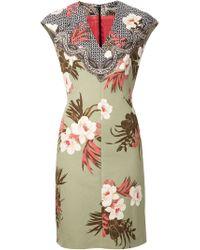 Etro Green Printed V-nek Dress