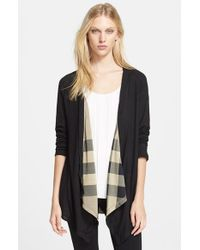 72153aa73b2a Lyst - Burberry Brit Check Detail Drape Front Cardigan in Black