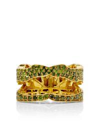 Marc Alary | Metallic 18k Yellow Gold and Green Diamond Crocodile Ring | Lyst