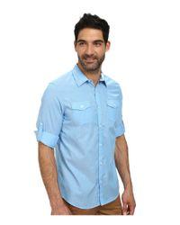 Calvin Klein | Blue Stripe Voille Roll-up Woven Shirt for Men | Lyst