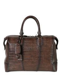 Santoni | Brown Hand Painted Embossed Leather Duffle Bag for Men | Lyst