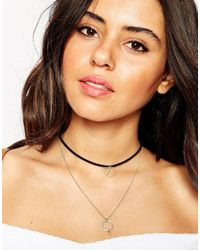 ASOS | Metallic Multirow Fine Open Shapes Necklace | Lyst
