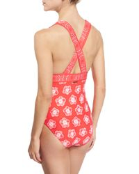 MICHAEL Michael Kors Red Kanoko Plunge-neck Printed One-piece Swimsuit