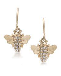 Carolee | Metallic Crystal Bee Drop Earrings | Lyst