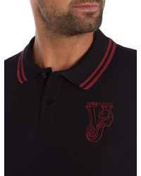 Versace Jeans | Black Slim Fit Long Sleeve Embroidered Logo Polo Shirt for Men | Lyst