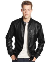 American Rag | Black Pleather Bomber Jacket for Men | Lyst