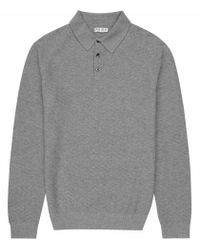 Reiss | Gray Churchill Stitch Detail Polo Shirt for Men | Lyst