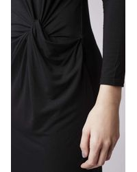 TOPSHOP | Black Petite Knot-front Midi Dress | Lyst