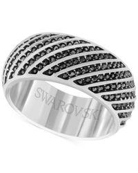Swarovski | Black Men's Silver-tone Hematite Crystal Ring for Men | Lyst