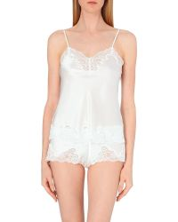 Nk Imode - White Morgan Stretch-lace And Silk-satin Camisole - Lyst