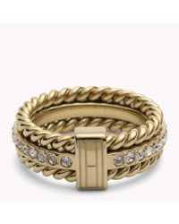 Tommy Hilfiger - Metallic Rope And Stone Ring - Lyst