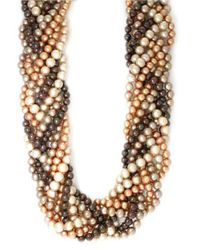 Effy - Sterling Silver Brown Multi-Colored Pearl Braided Necklace - Lyst