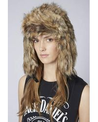 TOPSHOP - Brown Faux Fox Fur Trapper - Lyst