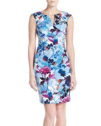 Adrianna Papell | Multicolor Floral Print Jacquard Sheath Dress | Lyst