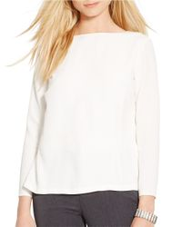 Lauren by Ralph Lauren White Crepe Split-back Shirt