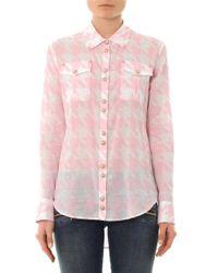 Balmain - Pink Houndstoothprint Cotton Shirt - Lyst