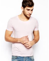ASOS - Pink T-Shirt With Scoop Neck for Men - Lyst