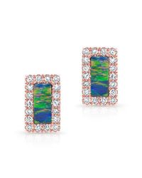 Anne Sisteron | Metallic 14kt Rose Gold Opal Diamond Bar Stud Earrings | Lyst