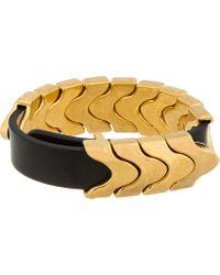 Alexander McQueen Metallic Black Leather Gold Link Bracelet