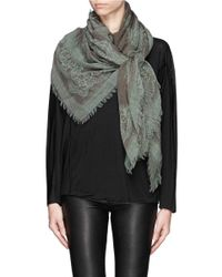 Franco Ferrari - Natural Floral Lace Print Wool-cashmere Scarf - Lyst