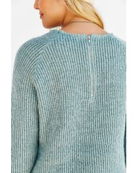 Silence + Noise | Blue Zip Back Shirttail Hem Sweater | Lyst