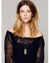 Free People - Gray Dipped Tag Pendant - Lyst