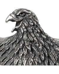 Saint Laurent Metallic Sterling Silver Engraved Eagle Cuff for men