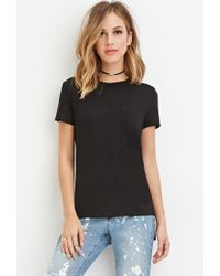 Forever 21 - Black Slub Knit Pocket Tee - Lyst