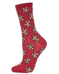 TOPSHOP Red Gingerbread Man Ankle Socks