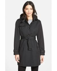 MICHAEL Michael Kors | Black Single Breasted Raincoat | Lyst